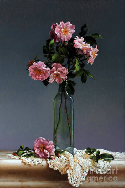Wall Art - Painting - Wild Roses And Doily by Lawrence Preston
