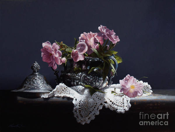 Doily Wall Art - Painting - Wild Roses In Silver by Lawrence Preston
