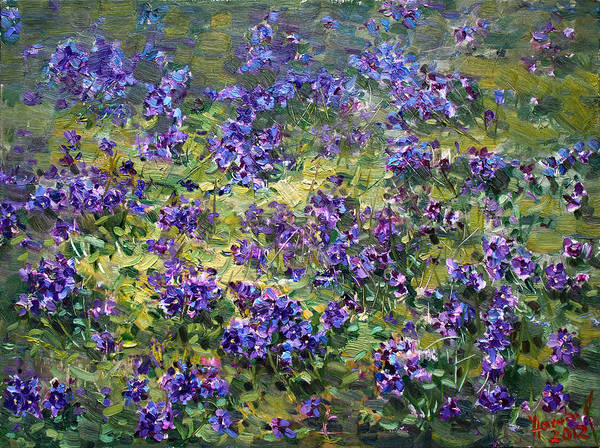 Field Of Flowers Wall Art - Painting - Wild Violets  by Ylli Haruni