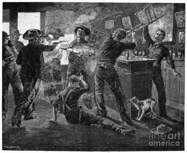 Photograph - Wild West: Saloon Fight by Granger