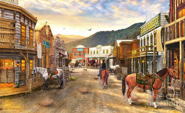 Gold Rush Wall Art - Digital Art - Wild West Town by Dominic Davison