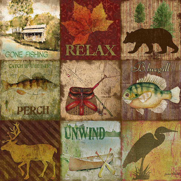 Burlap Painting - Wilderness Bliss by Jean Plout