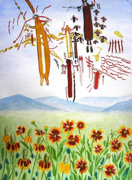 Painting - Wildflowers And Rock Art At Halo Shelter  by Vera  Smith