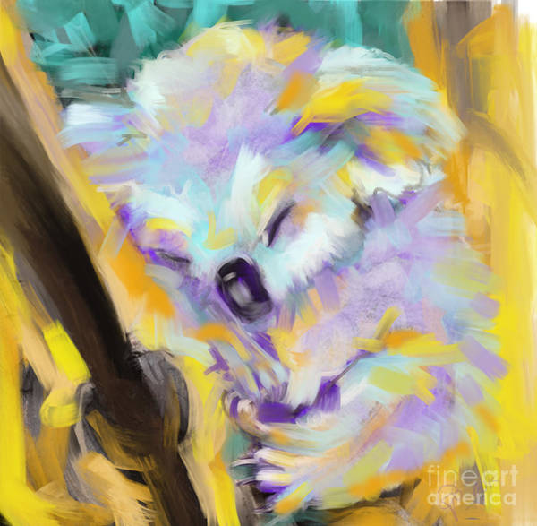 Painting - Wildlife Cuddle Koala by Go Van Kampen