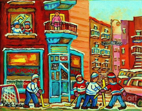 Painting - Wilensky's Corner Hockey Game Montreal Winter Diner Paintings Carole Spandau by Carole Spandau
