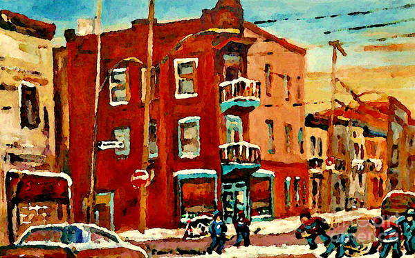 Painting - Wilenskys Hockey Art Paintings Originals Commissions Prints Montreal Deps Street Art Carole Spandau  by Carole Spandau