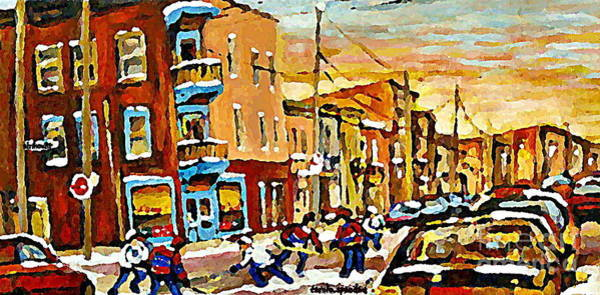 Painting - Wilenskys Hockey Paintings Montreal Commissions Originals Prints Contact Artist Carole Spandau  by Carole Spandau