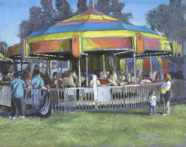 County Fair Painting - Will They Let Me Ride by David Zimmerman