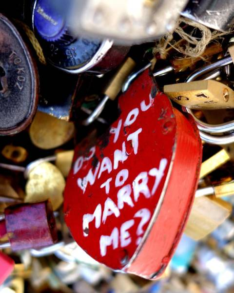 Photograph - Do You Want To Marry Me Love Lock Paris by Toby McGuire