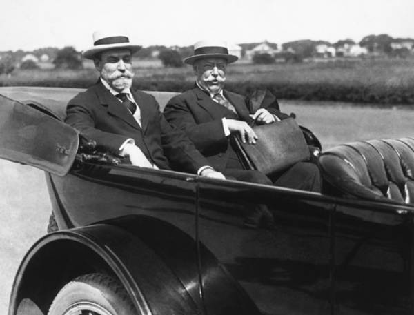 Bridgehampton Photograph - Willam Taft And Charles Hughes by Underwood Archives