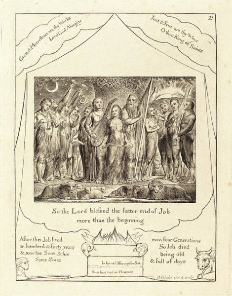 William Blake Drawing - William Blake, British 1757-1827, Job And His Wife Restored by Litz Collection