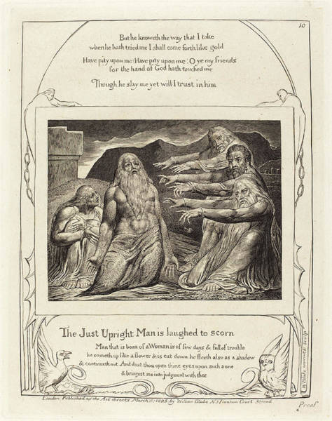 William Blake Drawing - William Blake British, 1757 - 1827, Job Rebuked by Quint Lox