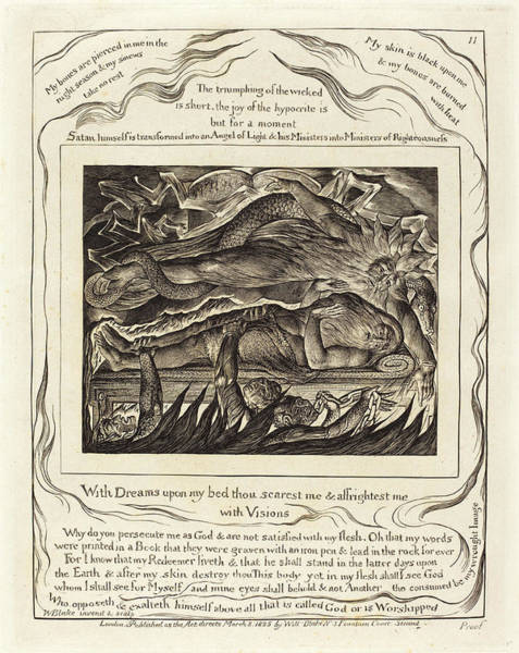 Wall Art - Drawing - William Blake, British 1757-1827, Jobs Evil Dreams by Litz Collection