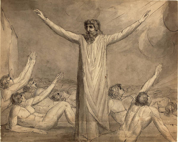 William Blake Drawing - William Blake, British 1757-1827, Moses Staying The Plague by Litz Collection