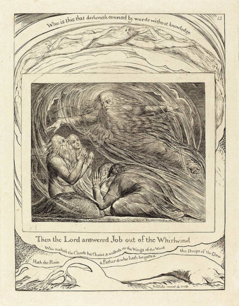 William Blake Drawing - William Blake British, 1757 - 1827, The Lord Answering Job by Quint Lox