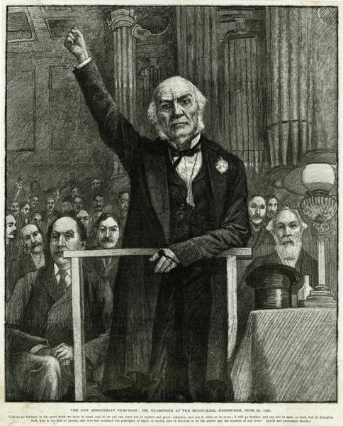 Gladstone Wall Art - Drawing - William Ewart Gladstone  Giving by Mary Evans Picture Library