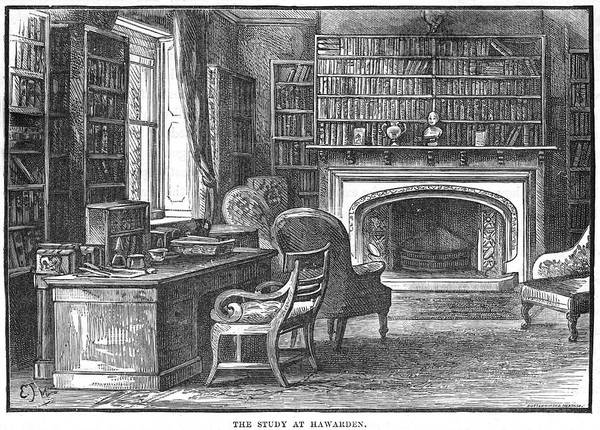Gladstone Wall Art - Drawing - William Ewart Gladstone  The Study by Mary Evans Picture Library