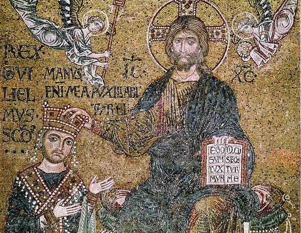 Wall Art - Photograph - William II 1154-89 King Of Sicily Receiving A Crown From Christ Mosaic by Byzantine School