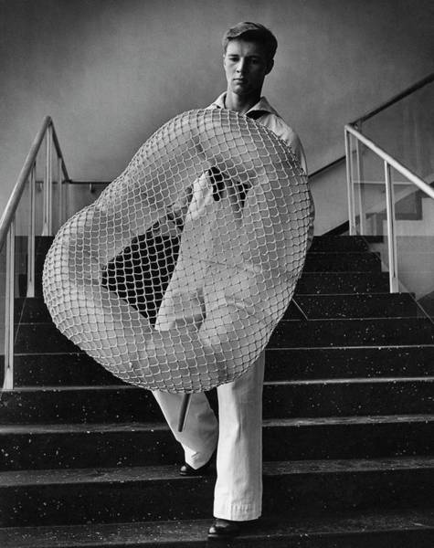Staircase Photograph - William Miller Holding A Chair Of His Design by George Karger
