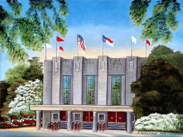 Nc State Wall Art - Painting - William Neal Reynolds Coliseum by Shelia Kempf