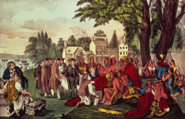 Settlers Painting - William Penn's Treaty With The Indians by Currier and Ives