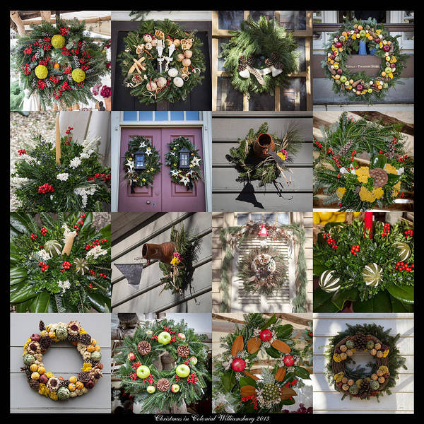 Royal Colony Photograph - Williamsburg Christmas Collage Squared 2 by Teresa Mucha