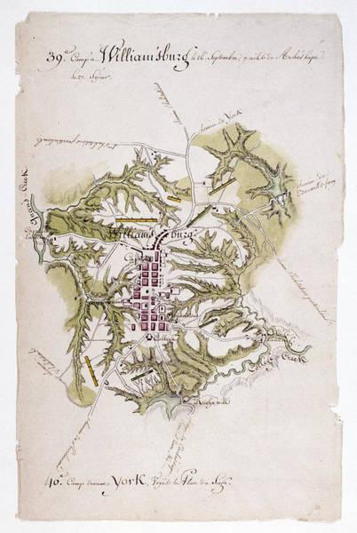 Wall Art - Photograph - Williamsburg: Map, 1781 by Granger