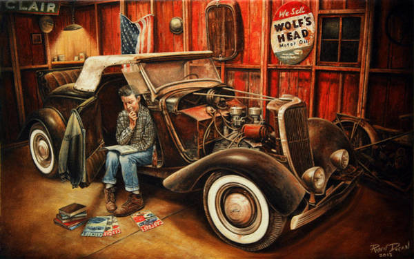 Nostalgia Painting - Willie Gillis Builds A Custom by Ruben Duran