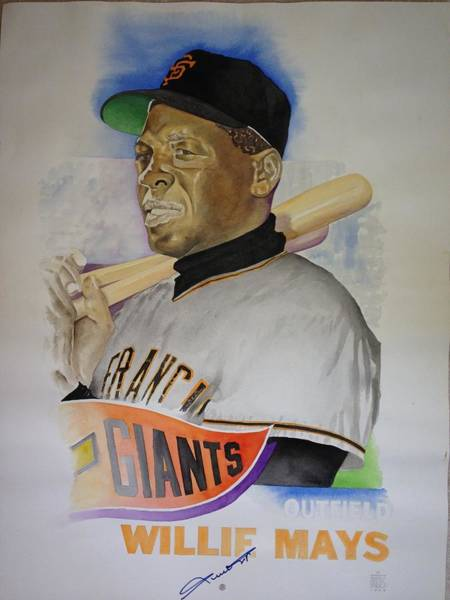 Hitter Painting - Willie Mays by Robert  Myers
