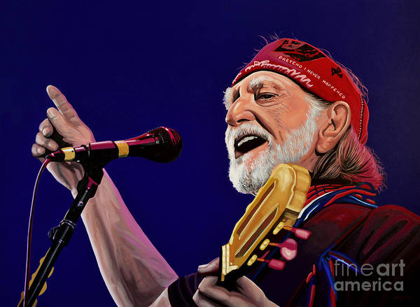 Nashville Wall Art - Painting - Willie Nelson by Paul Meijering