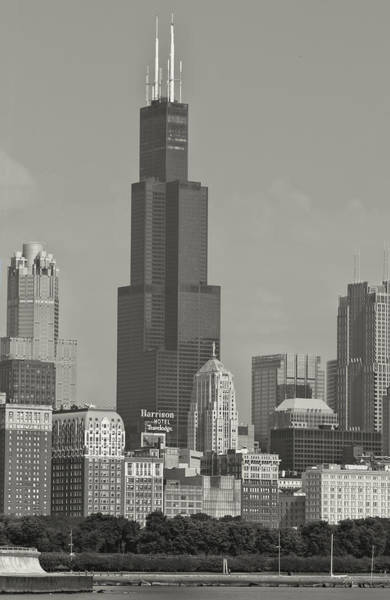 Photograph - Willis Tower Chicago Black And White by Jonathan Davison