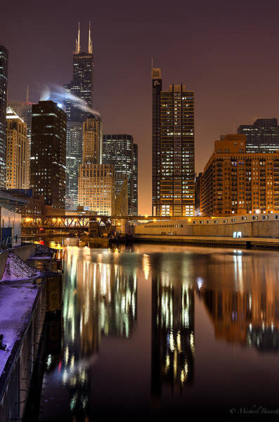 Photograph - Willis Tower Reflection In Chicago River March 2014 by Michael  Bennett