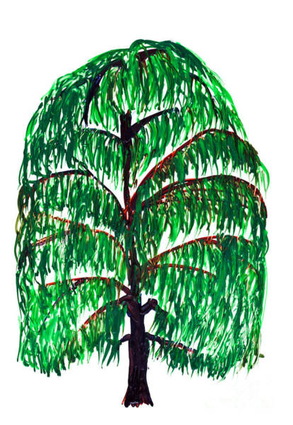 Wax Painting - Willow Tree Painting Isolated by Simon Bratt Photography LRPS