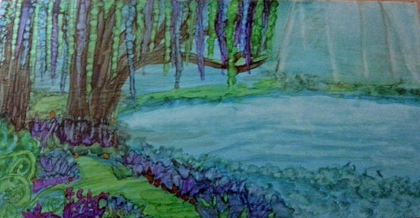 Painting - Willows By The Pond by Kelly Dallas