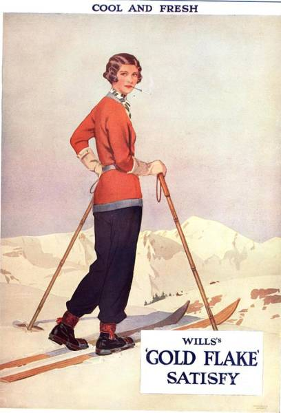 Nineteen-thirties Wall Art - Drawing - Will�s 1930s Usa Gold Flake Skiing by The Advertising Archives