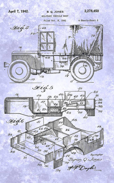 Painting - Willys Military Jeep Patent From 1942 by Celestial Images