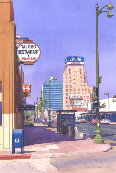 Traffic Signals Painting - Wilshire Blvd At Mansfield by Mary Helmreich