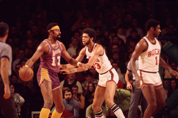 Wall Art - Photograph - Wilt Chamberlain Guarded By Kareem Abdul Jabbar by Retro Images Archive