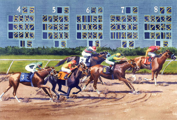 Wall Art - Painting - Win Place Show At Del Mar by Mary Helmreich