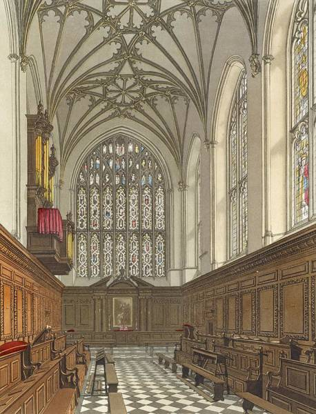Print Drawing - Winchester College Chapel, From History by Frederick Mackenzie