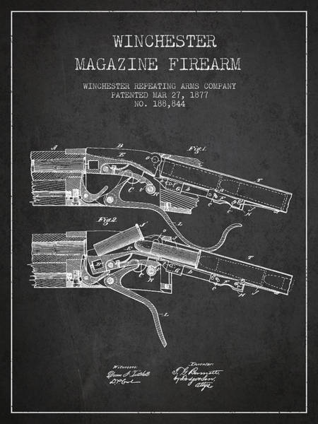Shooting Digital Art - Winchester Firearm Patent Drawing From 1877 - Dark by Aged Pixel