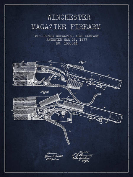 Shooting Digital Art - Winchester Firearm Patent Drawing From 1877 - Navy Blue by Aged Pixel