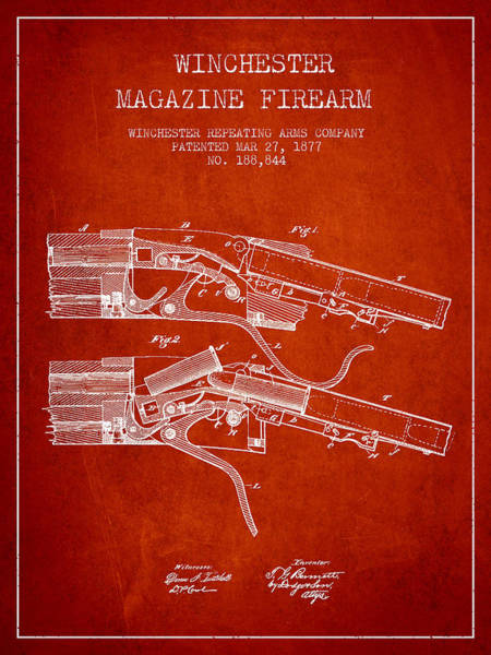 Weapons Digital Art - Winchester Firearm Patent Drawing From 1877 - Red by Aged Pixel
