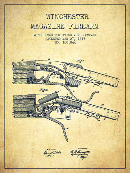 Antique Firearms Wall Art - Digital Art - Winchester Firearm Patent Drawing From 1877 - Vintage by Aged Pixel