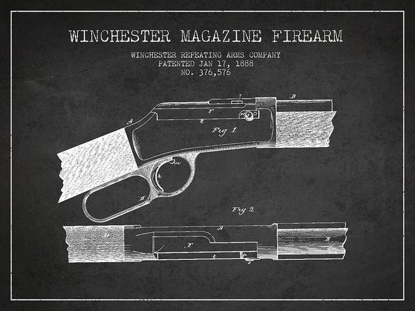 Shooting Digital Art - Winchester Firearm Patent Drawing From 1888- Dark by Aged Pixel