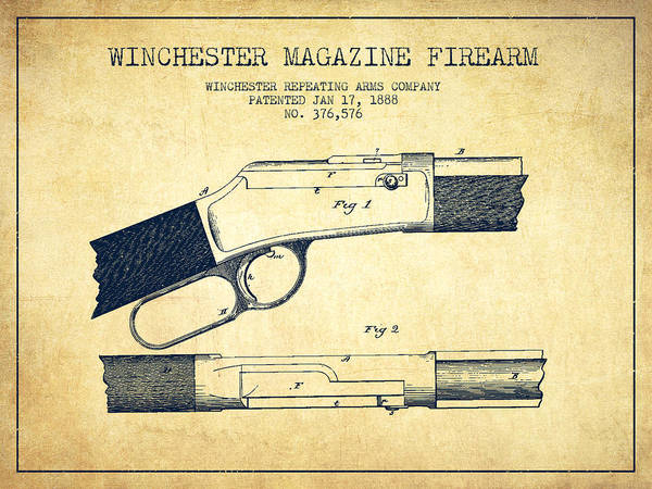 Antique Firearms Wall Art - Digital Art - Winchester Firearm Patent Drawing From 1888- Vintage by Aged Pixel