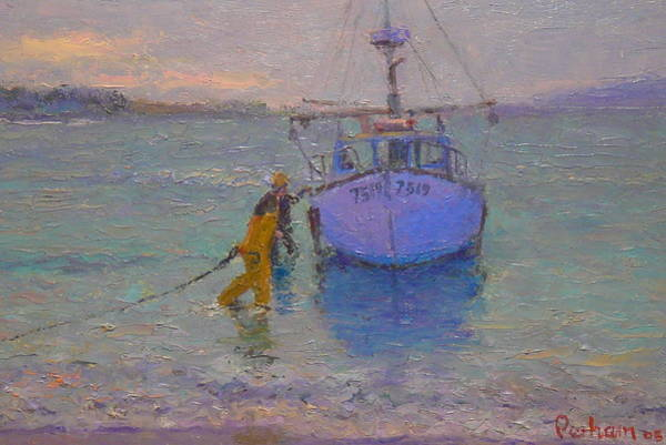 Nz.impressionist Painting - Winching In. Days End by Terry Perham