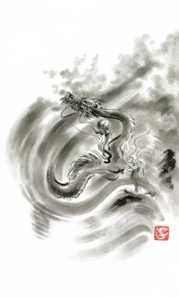 E Ink Wall Art - Painting - Wind Dragons Sumi-e Ink Painting Dragons Art by Mariusz Szmerdt