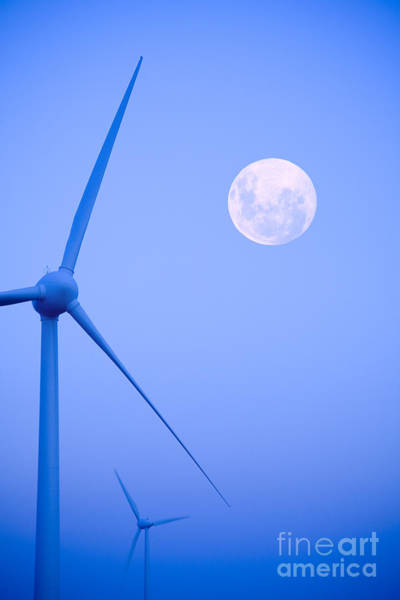 Wind Turbine Wall Art - Photograph - Wind Farm  And Full Moon by Colin and Linda McKie