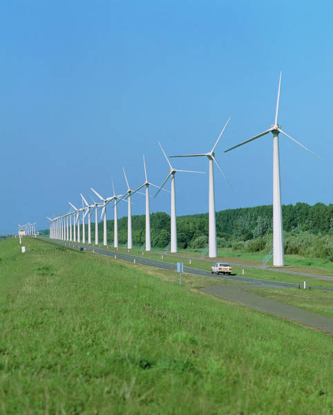 Wind Farm Photograph - Wind Farm Next To Road by Martin Bond/science Photo Library